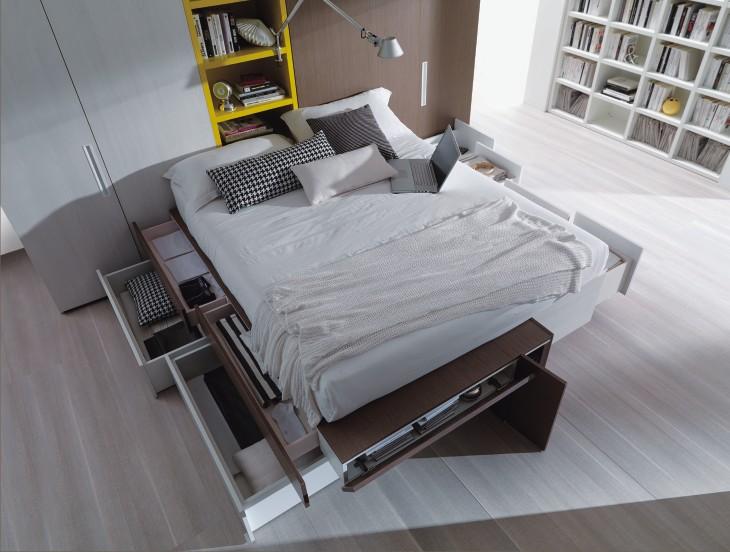 Cargo letto moderno con testiera imbottita - Cassetti sotto il letto ...