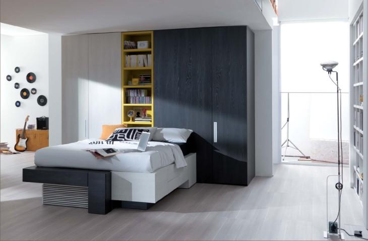 Cabina Armadio Xcab : Camera moderna con letto con cassetti e doppia cabina