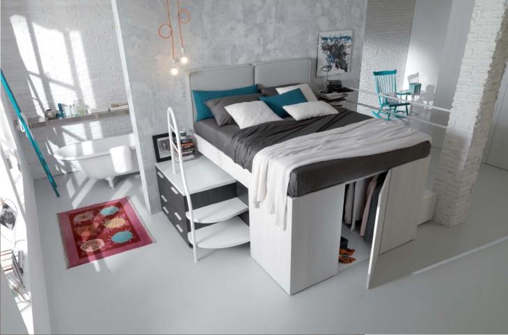 places kitchenettes and studios on pinterest - Lit Estrade Chambre Studio