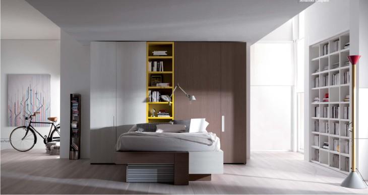 Camera moderna con letto con cassetti e doppia cabina - Cabina armadio dietro al letto ...