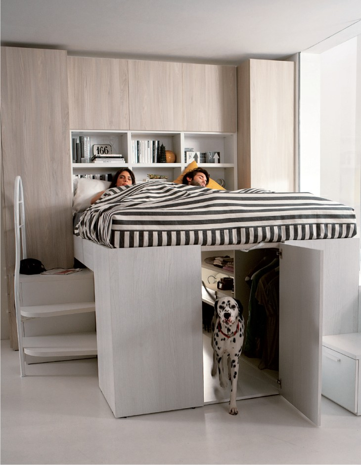 camera matrimoniale a soppalco modus container. Black Bedroom Furniture Sets. Home Design Ideas