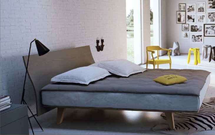 letto moderno in legno con contenitore