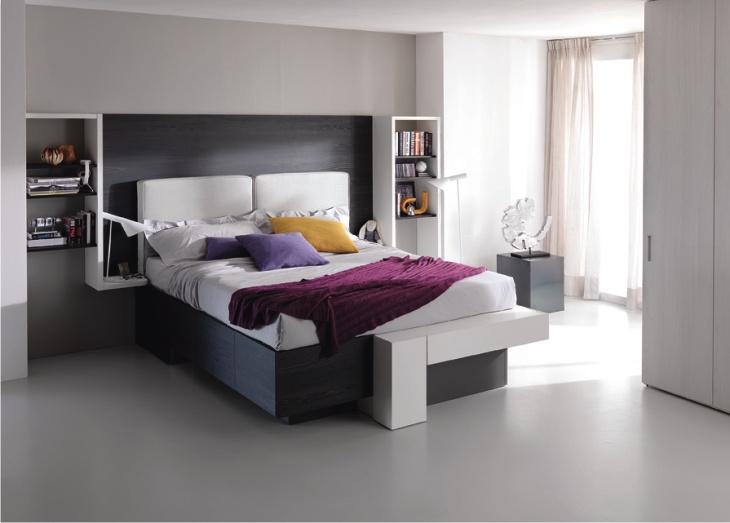 Camera matrimoniale moderna con letto a cassetti - Testiera letto moderna ...